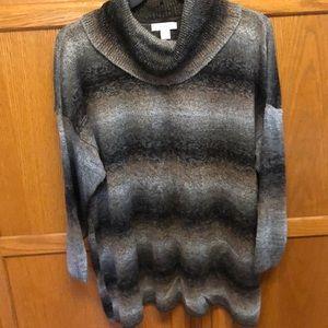 Ombré cowl neck sweater
